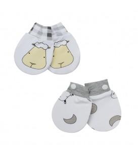 Baa Baa Sheepz Mittens (2 pairs) - Big Face Checkers + Small Moon Polka Dots