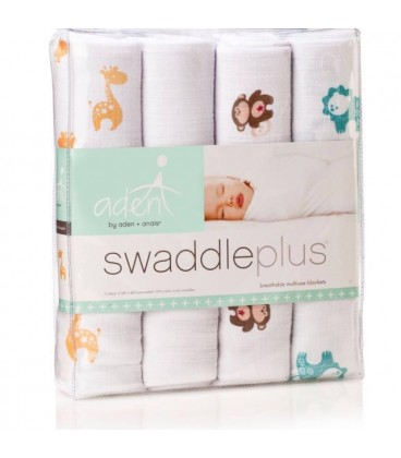 Aden & Anais Swaddle 4 Pack - Safari Friends
