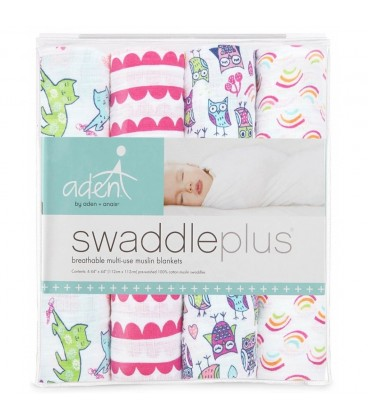 Aden & Anais Swaddleplus 4 pack - Wise Owl