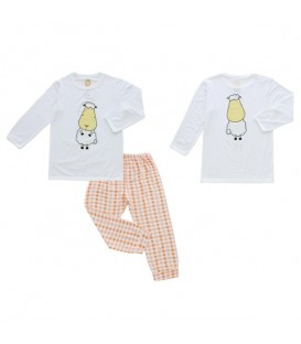 Baa Baa Sheepz - Pyjamas Set White Big Face + Orange Checkers