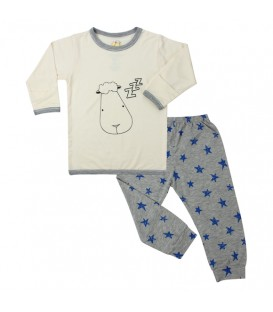 Baa Baa Sheepz - Pyjamas Set Yellow Small Star & Sheepz + Grey Checkers