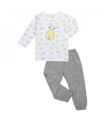 Bamboo Long Sleeve Shirt and Pants - Coloured Star and Sheepz Moon Grey (0-6M)