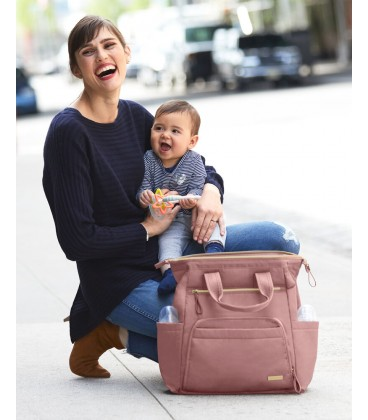 Skip Hop Mainframe Wide Open Diaper Backpack- Dusty Pink