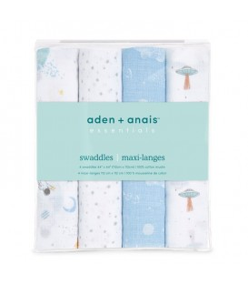 Aden + Anais essentials cotton muslin swaddle 4-pack Space Explorers