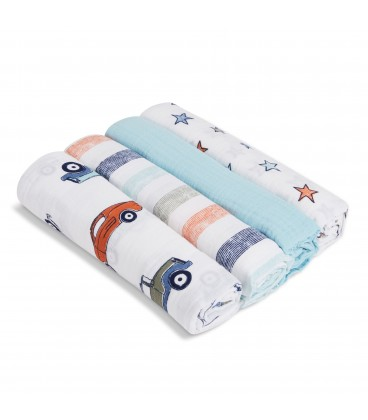 Aden & Anais Swaddles 4 Pack- Hit The Road