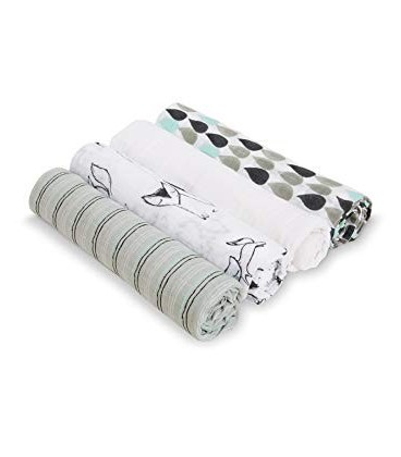Aden & Anais Swaddles 4 Pack- Trotting Fox