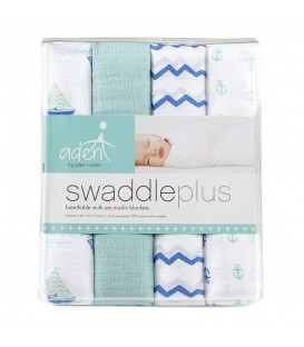 Aden & Anais Swaddles 4 Pack - Sailing Sea
