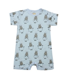 Baa Baa Sheepz- Blue Big Sheep Short Sleeves Romper