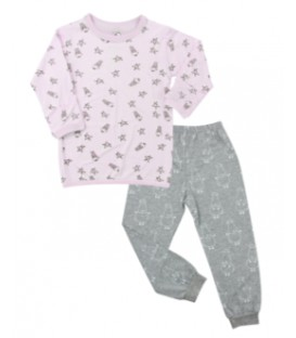Baa Baa Sheepz- Pyjamas Set Pink Small Sheep & Stars + Grey Big Sheepz